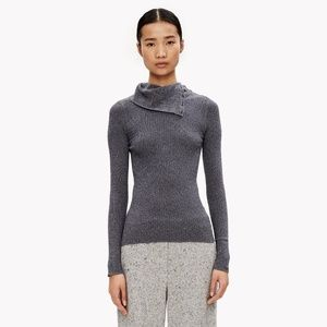 Theory - navy and grey button neck turtleneck